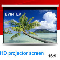 Cheap Matte White Home Wide Cinema 16:9 Self Locking Manual Pull Down Video Projection Screen Factory HD