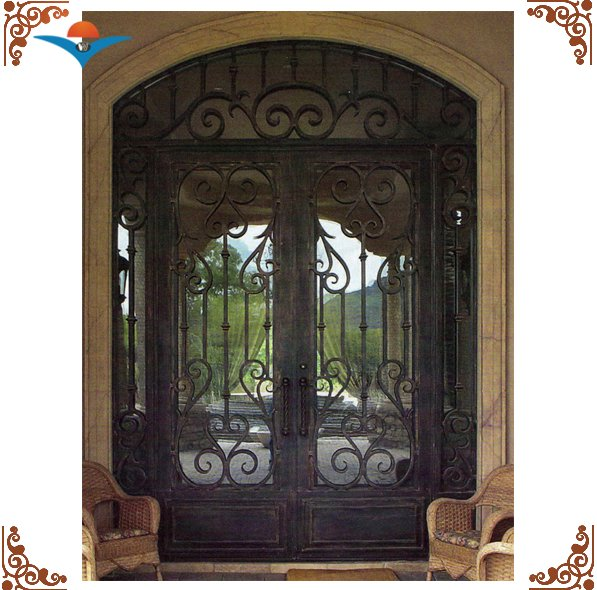 2016 classic arched double villa entry door/residential steel double entry doors