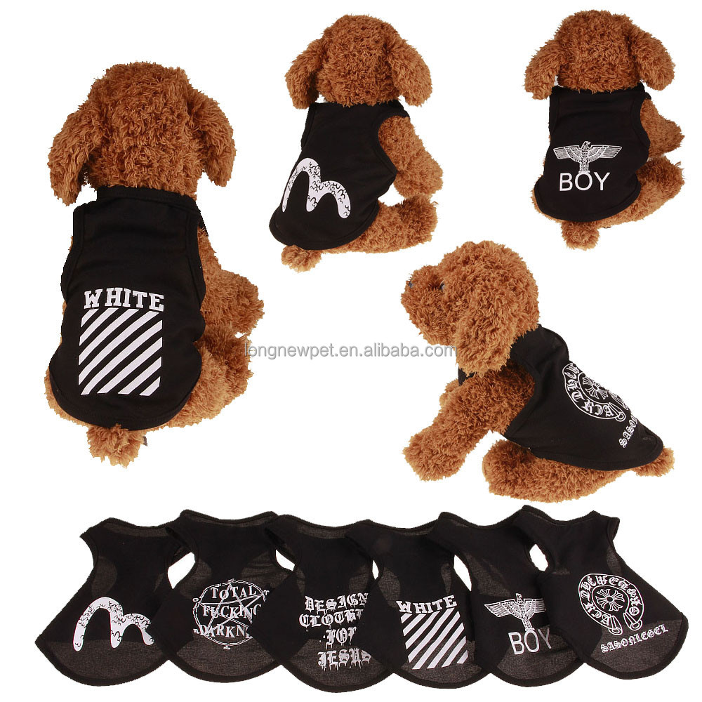 Pet Products 2017 Dog Clothes Summer Black Ruff Street Style Dog Tee Shirt