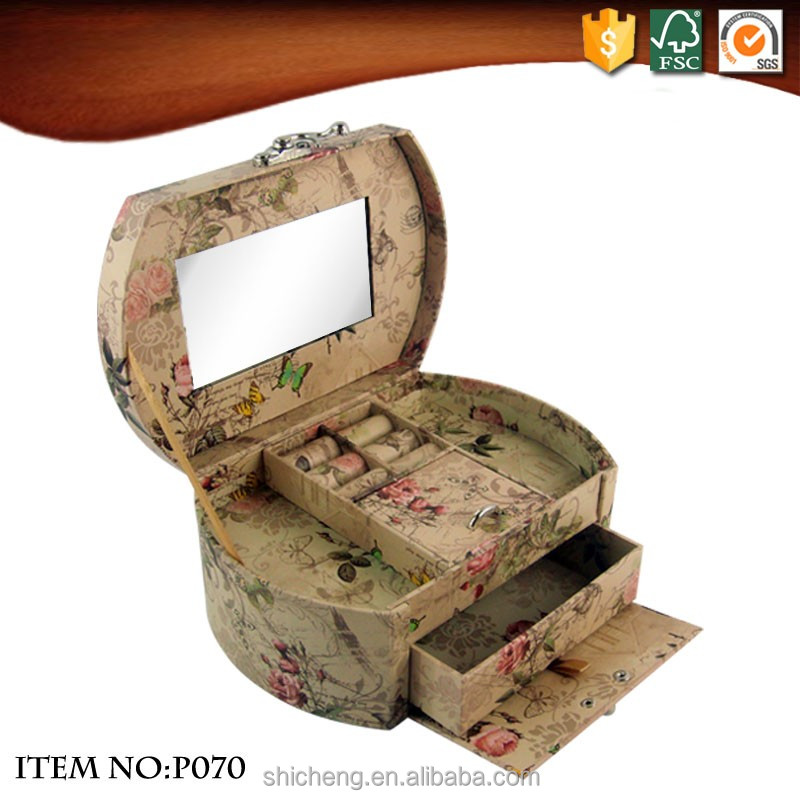 Decorative wedding paper jewelry ring box