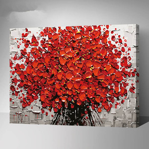 DIY Frameless Red Flowers By Numbers Oil Painting On Canvas/Wall Art Paint by numbers