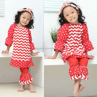 Girl Festive Christmas Holiday Outfits - Red and Green Chevron Dress with Polka Dots