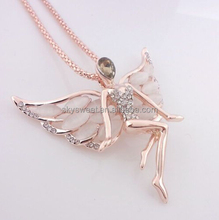 Angel design rose gold plated necklace,charm necklace