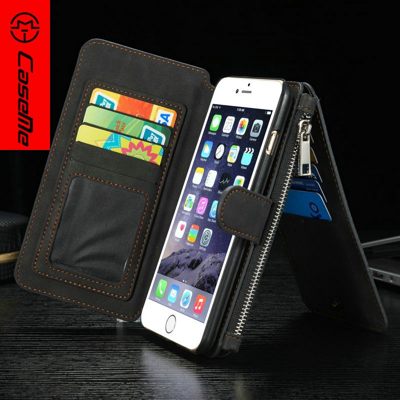 Customized Leather Case Cover for iPhone 6 plus, for iPhone 6 plus Cover Leather, Zipper Card Case for iPhone 6 plus