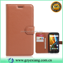 Factory Price Soild Color Flip Cover Leather Case For Moto X Play Wallet Stand