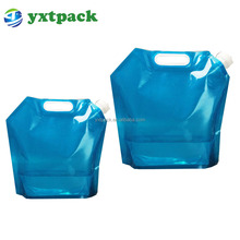 Fda Approved 5l Foldable Stand Up Plastic Spout Drinking Water Bags With Portable Handle