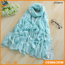 Embroidered Style viscose cotton material Muslim hijab scarf