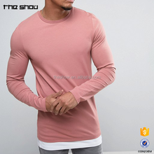 Trending clothing men hot products long sleeve muscle fit plain contrast curved hem longline t shirt