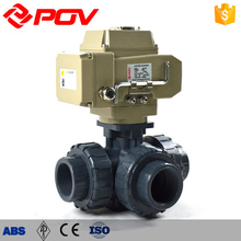 Plastic electric chemical resistant pvc 3 way ball valve 3 inch