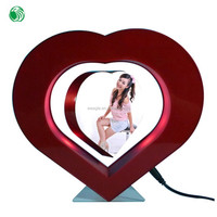 Two sides heart shaped magnetic levitation photo popular frame wish pearl gift set