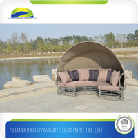 outdoor Folding Beach rattan Sunbed With Canopy