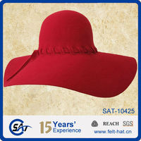 Women's elegant Ribbon Band floppy Hat, Beach cap, 100% Australian smooth finish wool felt