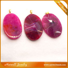Fashion Faceted Agate Slab Pendant, Mixed Color Agate Pendant