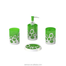 Stable and reliable customized colorful green glass bathroom accessory set