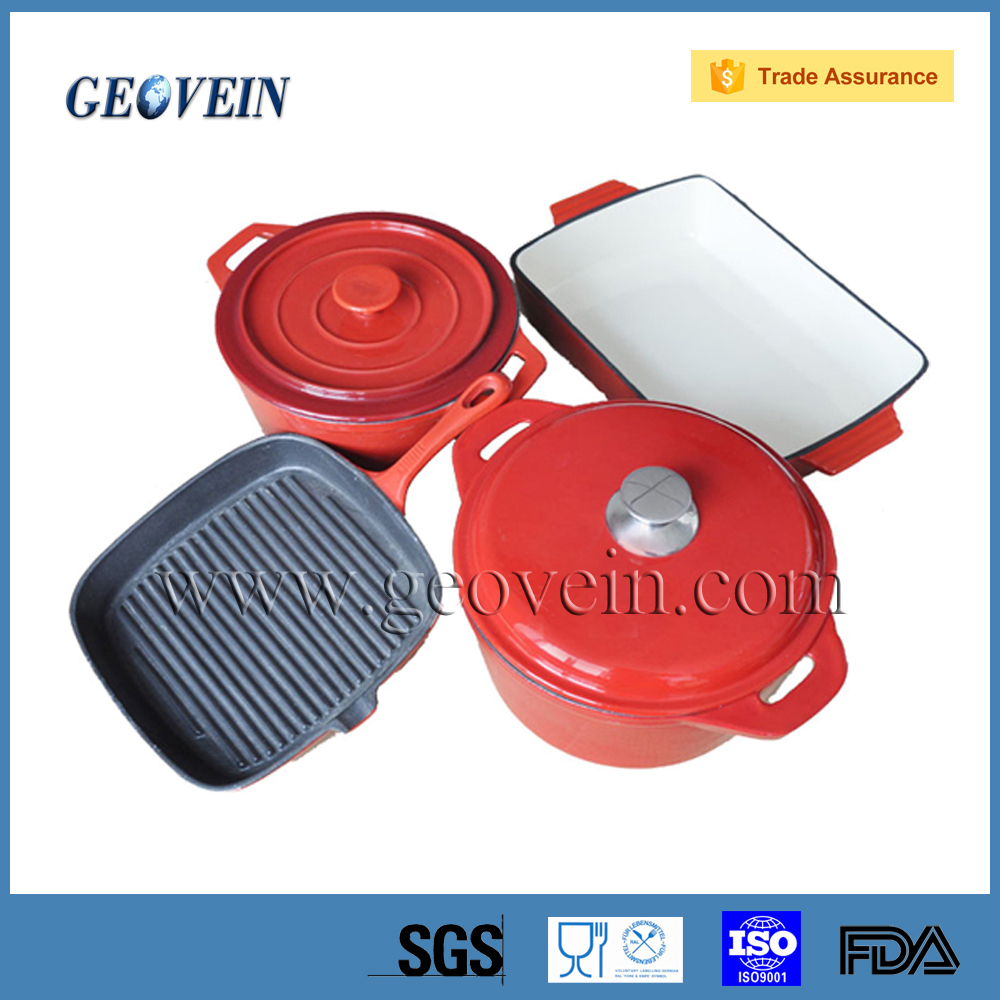 As Seen On TV 2016 Chinese Ceramic Colored Enamel Porcelain Coated 4pcs Cast Iron Cookware