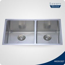 Commercial Handmade Undermount Small Bar Hand Washing Double Bowl 304 Stainless Steel Kitchen Sink