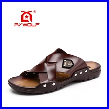latest model men leather no heel sandals and slippers