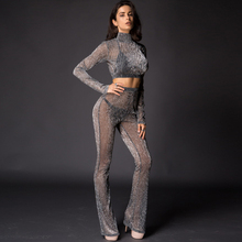 Runwaylover 084 Europe Style Ladies Two Piece Suits , Women Sexy Turtleneck Crop top And Transparent Casual Pants