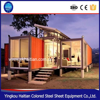 low cost modern design 87m2foldable glass steel prefab shipping container luxury prefab house villa