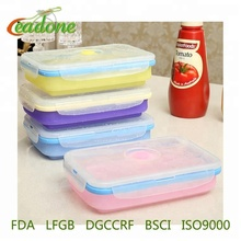 2018 New Design Folding collapsible square silicone lunch box