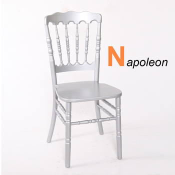 Modern Silver Party Hotel Wedding Banquet Rental Solid Wood Napoleon Chairs