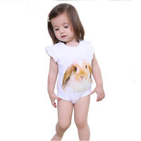 2017 Summer New Ruffle Sleeve White Animal Printing Rompers Clothes 3D Custom Girl Mods Clothing
