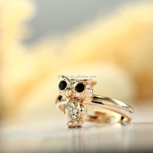 2017 hot sale style adjustable rhinestone movable body owl pinky ring gold