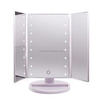 Travel Mirror Tri-Fold Lighted Led Mirror With 1X/2X/3X Magnifying / Travel Mirror Tri-Fold Lighted Led Mirror