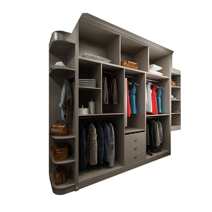 Aluminum pole system wooden wardrobe cabinet closet sliding doors walk in closet organizers