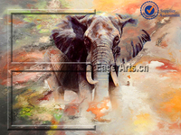 Shenzhen Dafen High Quality Wall Art Decoration Modern Canvas Handpainted Elephant Oil Painting
