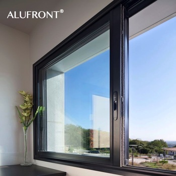 Guangzhou Alufront high quality custom design aluminum frame sliding glass window with mosquito net