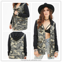OEM China Supplier 2015 Spring Women Camo Printed Utility Jacket HSJ8284