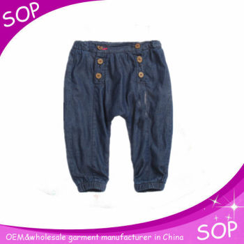 Fashion girl cute baby long trouser kids soft jeans harem pants