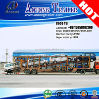 Second hand 2 axles 10 units vehicle transporting used car carrier trailer to Vietnam