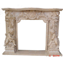 Italian Style Yellow Marble Fireplace Mantel with Cherubs