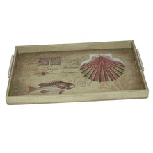 Set 3 Retro printing square natural wooden serving trays