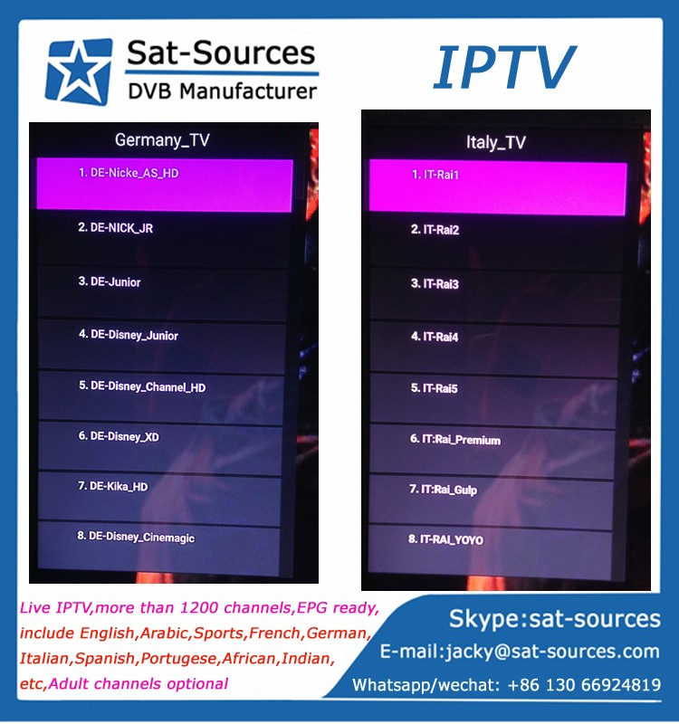 2017 Hot Selling Live IPTV APK more than 1200 Channels Arabic Live IPTV