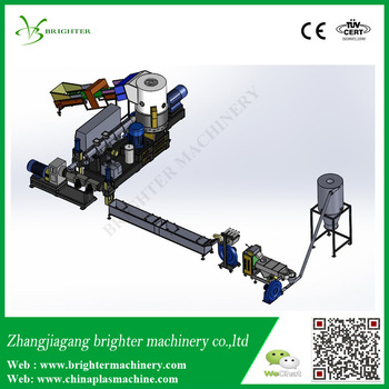 Compacting double stage extruder strand pe plastic film granulation line