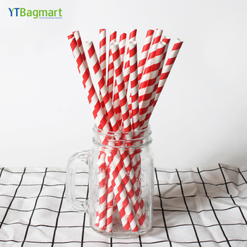 YTBagmart High Quality Foil Custom Printing Bulk Red and White Paper Straw FDA
