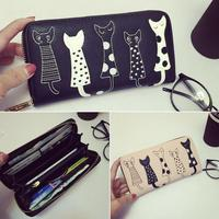 OBALEE BAG 2016 New fashion Women Wallets female cards holders cartoon cat PU wallet coin purses girl Long Wallet Elegant lady w