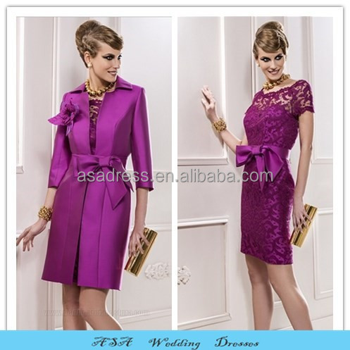 Plus Size Dress for Mother Wedding Sherwani Knee Length Elegant Purple Lace Mother of the Bride Dresses with Jacket 2015(MM14)