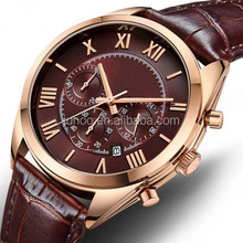 Six hands multifunction high quality mens watch stainless steel watch with genuine leather strap