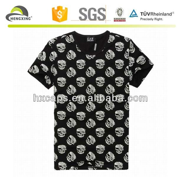 New pattern skull all over sublimation printing t-shirt factory