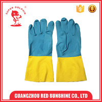 Chemical resistant neoprene and rubber industrial gloves