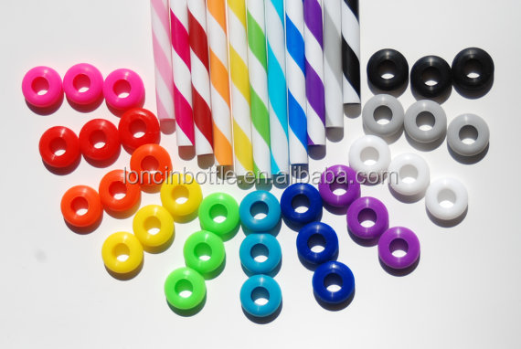 25 Colored Grommets With 25 Matching Colored Straws for DIY Mason Jar , average reusable drinking straw,striped acrylic straw