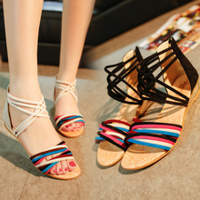 HFCS084 Promotion Multi-color simple fancy bohemia style ladies flat sandals in china