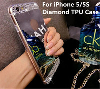 Stylish Gold Mirror Case TPU Soft Gel Silicone Luxury Bling Diamond Ultra Thin Back Cover For iPhone 5 5S Mobile Phone