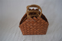 Woven Wooden Shopping Basket Handmade Storage Baskets