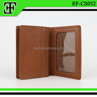 Wholesale dark brown vintage simple atm gift calf real leather business card case holder