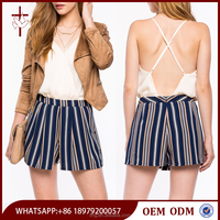 Striped origami high-waisted young teen girls in short shorts